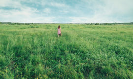 Little girl with suitcase on summer meadow Stock Photo