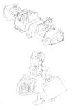 Little girl with suitcases and her cat part ,sketches and pencil sketches and doodles Royalty Free Stock Photography