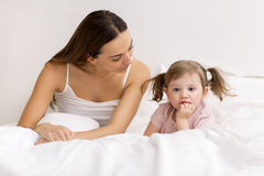 Little girl sulking  with her mother Royalty Free Stock Photo