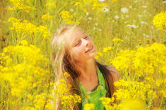 Little girl in summer field Royalty Free Stock Photos