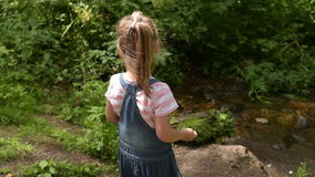 Little girl in the summer forest stock footage