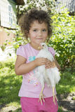 Little girl in the summer in the garden holding a chicken. Royalty Free Stock Photo