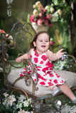 Little girl in summer garden. Playing with soap bu Royalty Free Stock Images