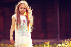Little girl in summer  park Royalty Free Stock Images