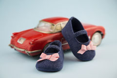 Little girl summer shoes stock photography