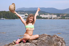 Little girl on summer vacation Corfu Greece Royalty Free Stock Image