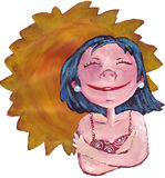 The little girl and the sun. The sun behind the young girl with the hair blacks Stock Photography