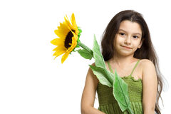 Little Girl and Sunflower Stock Photography