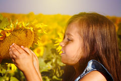 Little girl with a sunflower Royalty Free Stock Photo