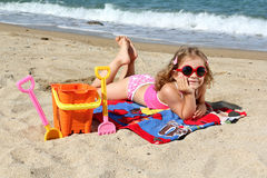 Little girl with sunglasses Royalty Free Stock Images