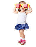 A little girl with the sunglasses Stock Photo