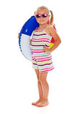 Little girl with sunglasses and inflatable ring Stock Photography