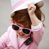 Little girl with sunglasses portrait Royalty Free Stock Photos