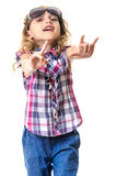Little girl in sunglasses rock and roll sign Stock Photography