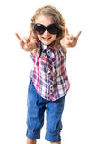 Little girl in sunglasses rock sign Stock Photos