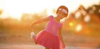 Little girl at sunset Royalty Free Stock Photos