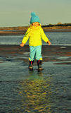 Little girl  on a sunset sandy autumn beach. Royalty Free Stock Photography