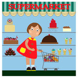 Little girl in supermarket. Stock Images