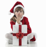 A little girl surpraised  and xmas presents Royalty Free Stock Photo