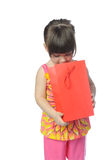 The little girl with surprise package stock images
