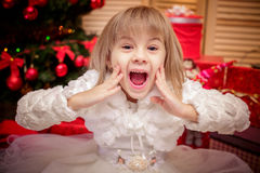 Little girl surprised  on a Christmas background Royalty Free Stock Photo