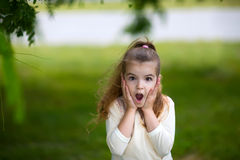 little girl is surprised stock photo