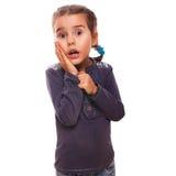 Little girl surprised woman teenager feels joy Stock Image