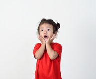 Little girl is surprising. Royalty Free Stock Image