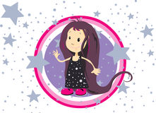 Little Girl Surrounded By Stars Stock Photography
