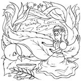 """Little girl and swallow. Black-and-white outline (for a coloring book) of a little girl treating a sick swallow (illustration of the fairy-tale """"Thumbelina vector illustration"""
