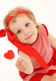 Little girl with a sweet heart Royalty Free Stock Photos