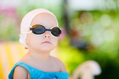 Little girl in swimming glasses Royalty Free Stock Photo