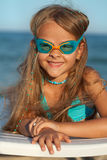 Little girl with swimming goggles Stock Photography