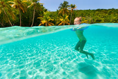 Little girl swimming in ocean Royalty Free Stock Photos