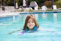Little Girl swimming in the Pool Royalty Free Stock Images