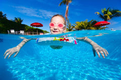 Little girl at swimming pool Stock Images