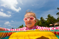Little girl at swimming pool Royalty Free Stock Photography