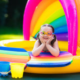 Little girl in swimming pool. Little girl with goggles playing in inflatable baby pool. Kids swim and splash in colorful garden play center. Children with water Stock Photography