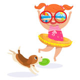 Little girl in swimming suit at the beach. Illustration of little girl in swimming suit and puppy at the beach Royalty Free Stock Photos