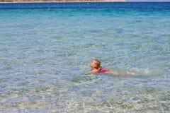 Little Girl Swimming Summer Stock Image