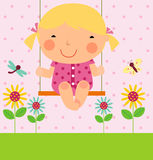 A little girl on swing Royalty Free Stock Photos