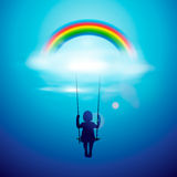 Little girl on a swing under the rainbow vector illustration