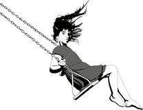 Little girl swinging. Illustration vector Royalty Free Stock Photos