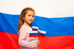 Little girl with symbol of her homeland Stock Photography