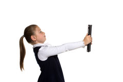 The little girl with the tablet Stock Photos