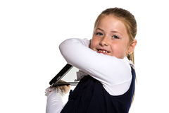 The little girl with the tablet Stock Photography