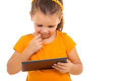 Little girl tablet computer Royalty Free Stock Image