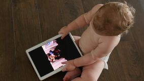 Little Girl With Tablet stock footage