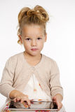 Little girl with tablet gadget isolated white background Stock Images