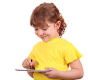 Little girl with tablet pc Royalty Free Stock Photography